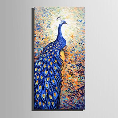 Hang festett olajfestmény Kézzel festett - Állatok Absztrakt Vászon / Nyújtott vászon