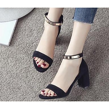Damen Schuhe PU Sommer Komfort High Heels Für Normal Schwarz Rot Mandelfarben