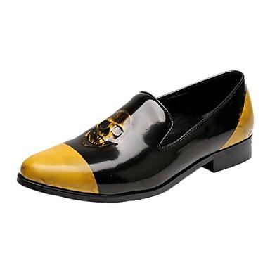 للرجال أحذية جلد ربيع خريف مريح حديث المتسكعون وزلة الإضافات إلى فضفاض الحفلات و المساء أصفر
