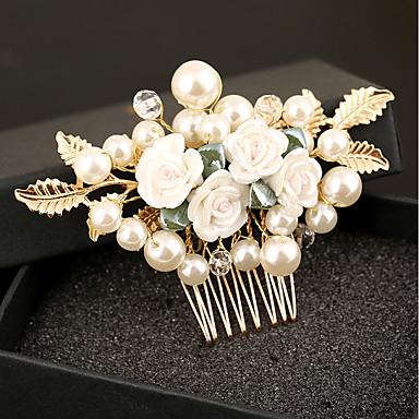 Gyöngyutánzat Műanyag Ötvözet Hajfésű Virágok 1 Esküvő Különleges alkalom Születésnap Party / estély Sisak