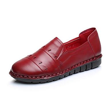 Damen Schuhe PU Sommer Komfort Flache Schuhe Für Normal Schwarz Braun Rot
