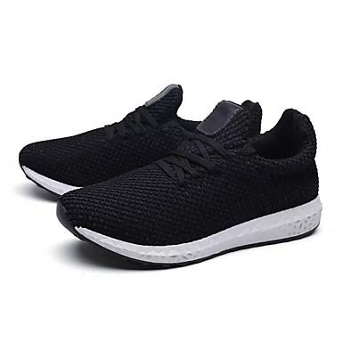 Damen Schuhe Tüll Frühling Herbst Komfort Sportschuhe Walking Flacher Absatz Runde Zehe Schnürsenkel für Normal Weiß Schwarz Rot