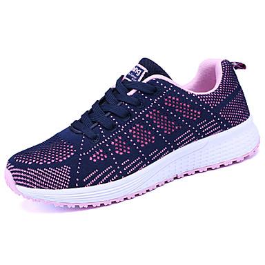 Damen Schuhe Tüll Frühling Herbst Leuchtende Sohlen Sportschuhe Walking Flacher Absatz Runde Zehe Schnürsenkel für Normal Weiß Schwarz