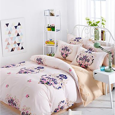 Pflanzen Leinen/Baumwolle Leinen/Baumwolle 4-teilig (1 Bettbezug, 1 Bettlaken, 2 Kissenbezüge)