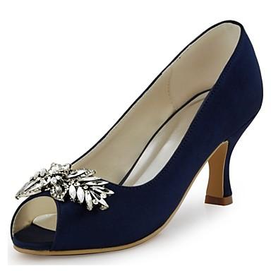 Női Cipő Streccs szatén Tavasz / Nyár Magasított talpú Esküvői cipők Tűsarok Köröm Kristály mert Esküvő / Party és Estélyi Tengerészkék /