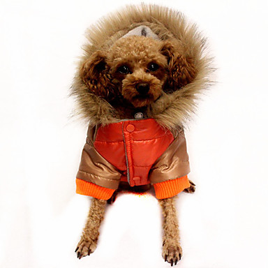 Hund Mäntel Daunenjacken Hundekleidung Warm Lässig/Alltäglich Einfarbig Orange Kaffee Rot Kostüm Für Haustiere