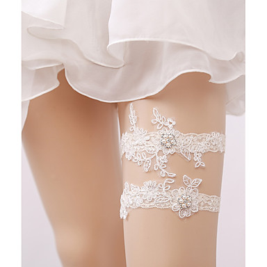Lace Wedding Wedding Garter with Imitation Pearl Floral Garters