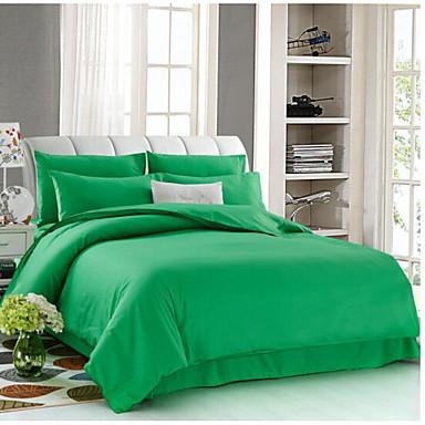 Solide 4 Stück Baumwolle Druck Baumwolle 4-teilig (1 Bettbezug, 1 Bettlaken, 2 Kissenbezüge)