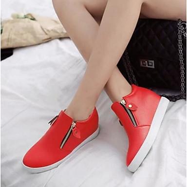Damen Schuhe PU Frühling Komfort Flache Schuhe Für Normal Weiß Schwarz Rot