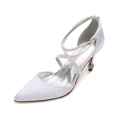 Damen Schuhe Satin Frühling Sommer Komfort D'Orsay und Zweiteiler Pumps Hochzeit Schuhe Konischer Absatz Niedriger Heel Stöckelabsatz