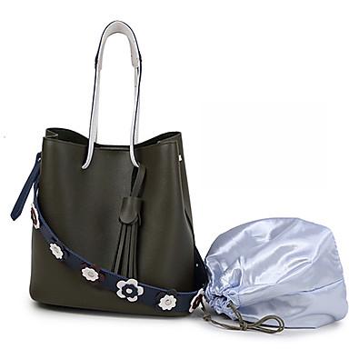 Női Táskák PU táska szettek 2 db erszényes készlet Virág / Rojt Halvány rózsaszín / Katonai zöld