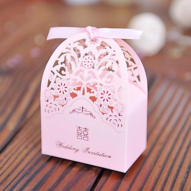 Kocka alakú Kártyapapír / Gyöngy-papír Favor Holder val vel Minta Ajándék dobozok / Ajándékdobozok