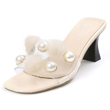 Damen Schuhe PU Frühling Sommer Komfort Sandalen Niedriger Heel für Normal Schwarz Beige