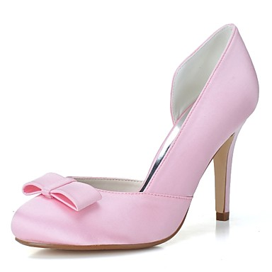 Women's Shoes Satin Spring / Summer Formal Shoes Wedding Shoes Stiletto Heel Round Toe Bowknot White / Pink / Party & Evening