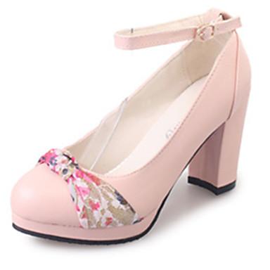 Damen High Heels Komfort PU Sommer Normal Blume Blockabsatz Beige Rosa 2,5 - 4,5 cm