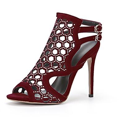 Damen Schuhe Echtes Leder Herbst Winter Pumps Sandalen Peep Toe Offene Spitze Kristall Für Normal Schwarz Rot