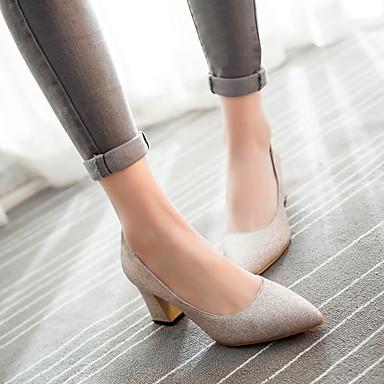 Damen Schuhe PU Frühling Herbst Komfort High Heels Blockabsatz Spitze Zehe Für Normal Gold Schwarz Silber