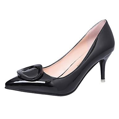 Women's Shoes PU(Polyurethane) Spring / Fall Light Soles Heels Kitten Heel Pointed Toe Red / Green / Pink / Dress