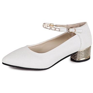 Damen Sandalen Komfort PU Frühling Sommer Normal Niedriger Absatz Gold Weiß Unter 2,5 cm