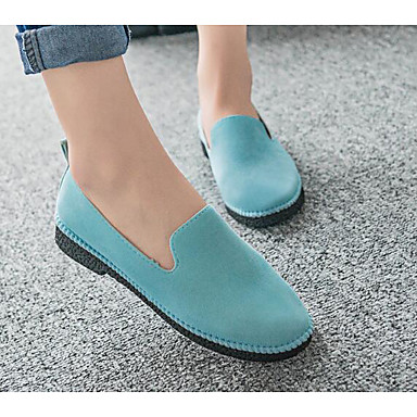 Damen Schuhe Beflockung Nubukleder PU Frühling Komfort Loafers & Slip-Ons Für Normal Grau Purpur Hellblau