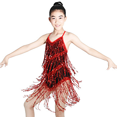 Latin Dance Dancewear Adults' Children's Sequins Fringe Latin Dress