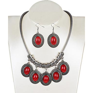 Damen Tropfen-Ohrringe Halskette Türkis Geometrisch Retro Böhmische Modisch Euramerican Schmuck mit Aussage Party Besondere Anlässe