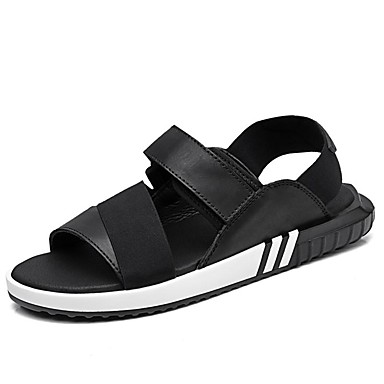 Men's Leather / Canvas Summer / Fall Comfort Sandals Upstream Shoes Black