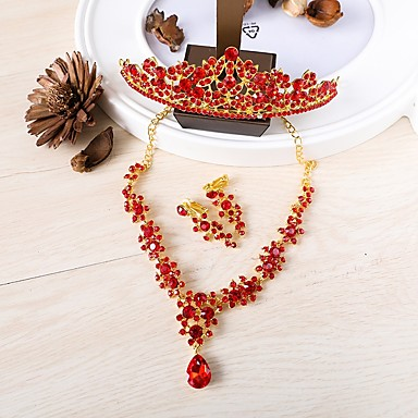 Women's Jewelry Set - Crown Vintage Include Necklace / Front Back Earrings / Ear Jacket Red For Wedding