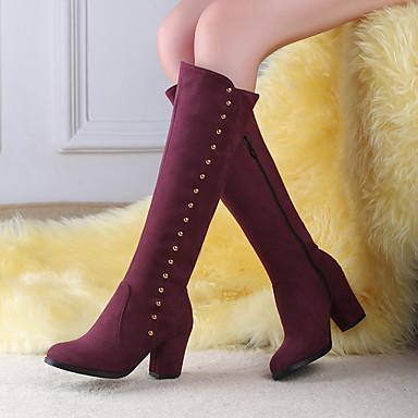Damen Schuhe PU Herbst / Winter Komfort Stiefel Keilabsatz Runde Zehe Schwarz / Blau / Burgund