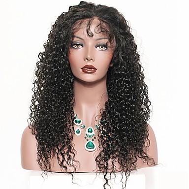 Szintetikus csipke front parókák Göndör / Afro Kinky Szintetikus haj Középen elválasztott frizura Fekete Paróka Hosszú Természetes paróka