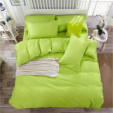 Solide 4 Stück Baumwolle Baumwolle 4-teilig (1 Bettbezug, 1 Bettlaken, 2 Kissenbezüge)