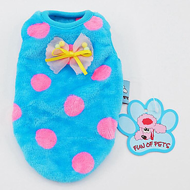Dog Vest Dog Clothes Polka Dot Blue / Pink / Black / White Plush Fabric Costume For Pets Men's / Women's Casual / Daily