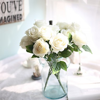 2 Stück 1 Ast Seide Polyester Rosen Tisch-Blumen Künstliche Blumen