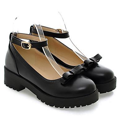 Damen Schuhe PU Frühling Herbst Komfort Flache Schuhe Flacher Absatz Für Normal Schwarz Gelb Rot