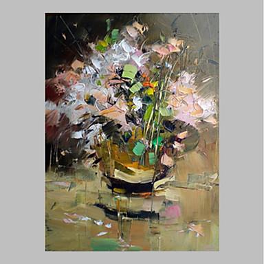 Handgemalte Blumenmuster/Botanisch Vertikal,Rustikal Modern/Zeitgenössisch Ein Panel Leinwand Hang-Ölgemälde For Haus Dekoration