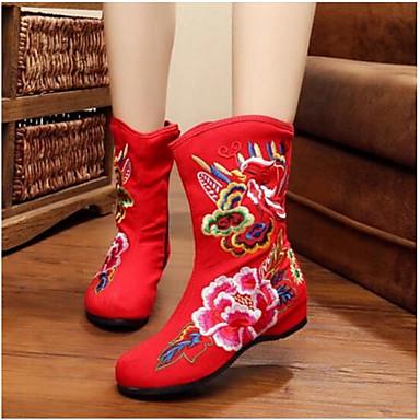 Damen Schuhe Stoff Winter Komfort Stiefel Für Normal Schwarz Rot