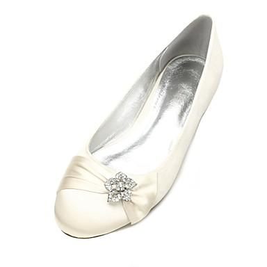billige Toppsalg-Dame bryllup sko Flat hæl Rund Tå Rhinsten / Satengblomst / Gummi Sateng Komfort / Ballerina Vår / Sommer Blå / Lysebrun / Krystall / Bryllup / Fest / aften / EU40
