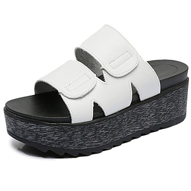 9fac12d9e8d Women s Slippers PU(Polyurethane) Summer Comfort Slippers   Flip-Flops  Walking Shoes Creepers Round Toe White   Black