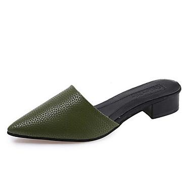Damen Flache Schuhe Komfort PU Sommer Normal Weiß Schwarz Armeegrün Flach