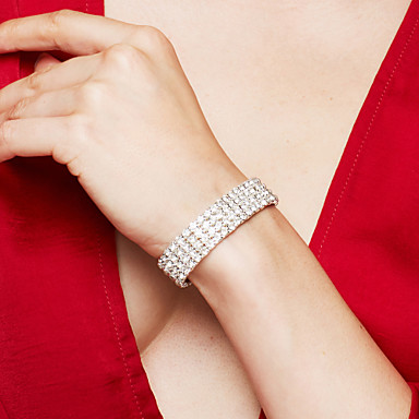 Women's Bracelet Tennis Bracelet Rhinestone Luxury Bridal Elegant Fashion Rhinestone Silver Plated Imitation Diamond Alloy Square Jewelry