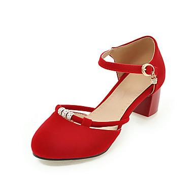 Damen Schuhe Künstliche Mikrofaser Polyurethan PU Frühling Sommer Pumps High Heels Blockabsatz Peep Toe Schnalle Für Hochzeit Kleid Party