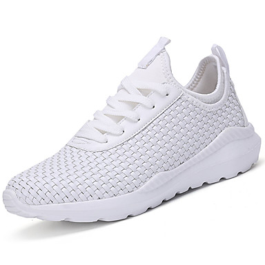 Men's Light Soles PU(Polyurethane) Spring / Fall Comfort Athletic Shoes White / Black