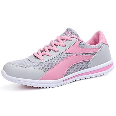 Női Cipő Tüll Tavasz Ősz Kényelmes Sportcipők Gyalogló Lapos Kerek orrú Fűző mert Szabadtéri Fekete Rózsaszín Világoskék