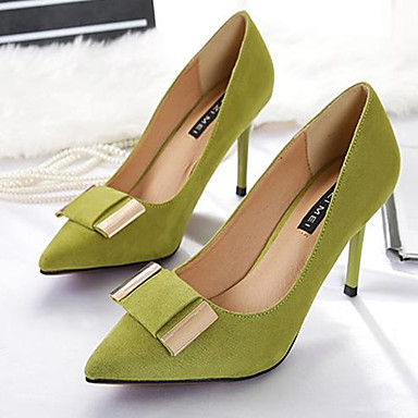 Women's Shoes PU(Polyurethane) Spring Comfort Heels Stiletto Heel Pointed Toe Black / Gray / Green