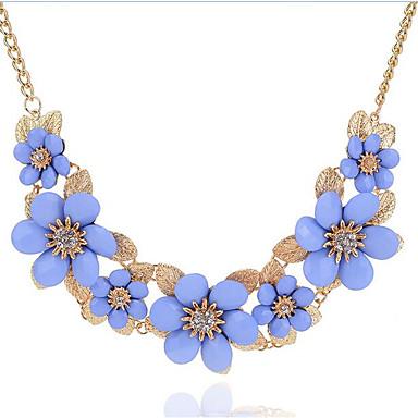 Women's Statement Necklace - Rhinestone Floral / Botanicals, Flower Bohemian, Boho Black, Beige, Light Blue Necklace For Party, Holiday