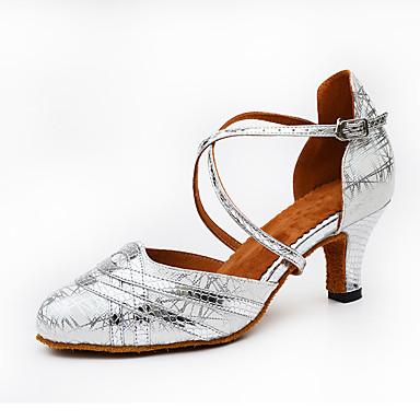 Women's Samba Shoes PU Heel Buckle / Splicing Customizable Dance Shoes Gold / Black / Silver / Indoor