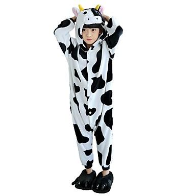 Kid's Kigurumi Pajamas with Slippers Milk Cow Onesie Pajamas Costume Flannel Fabric Black / White Cosplay For Animal Sleepwear Cartoon Halloween Festival / Holiday / Christmas