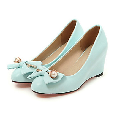 Women's Shoes PU Spring / Fall Comfort / Novelty Heels Wedge Heel Pointed Toe Bowknot / Rivet Beige / Blue / Pink / Wedding