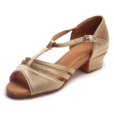 Latin Dans Ayakkabıları Saten Sandaletler / Topuklular Toka Kalın Topuk Kişiselleştirilmiş Dans Ayakkabıları Bej / Egzersiz