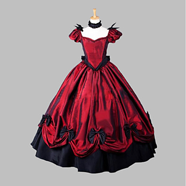 Witch / Princess / Queen Cosplay Costume / Masquerade Women's Christmas / Halloween / Carnival Festival / Holiday Halloween Costumes Red Print / Solid Color / Lace Victorian / Medieval / Renaissance